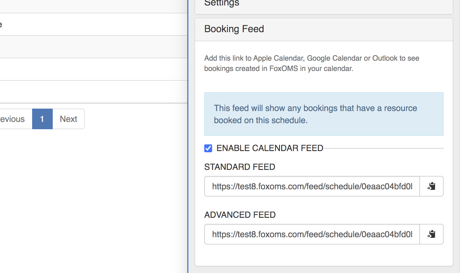 Advanced Booking Feed
