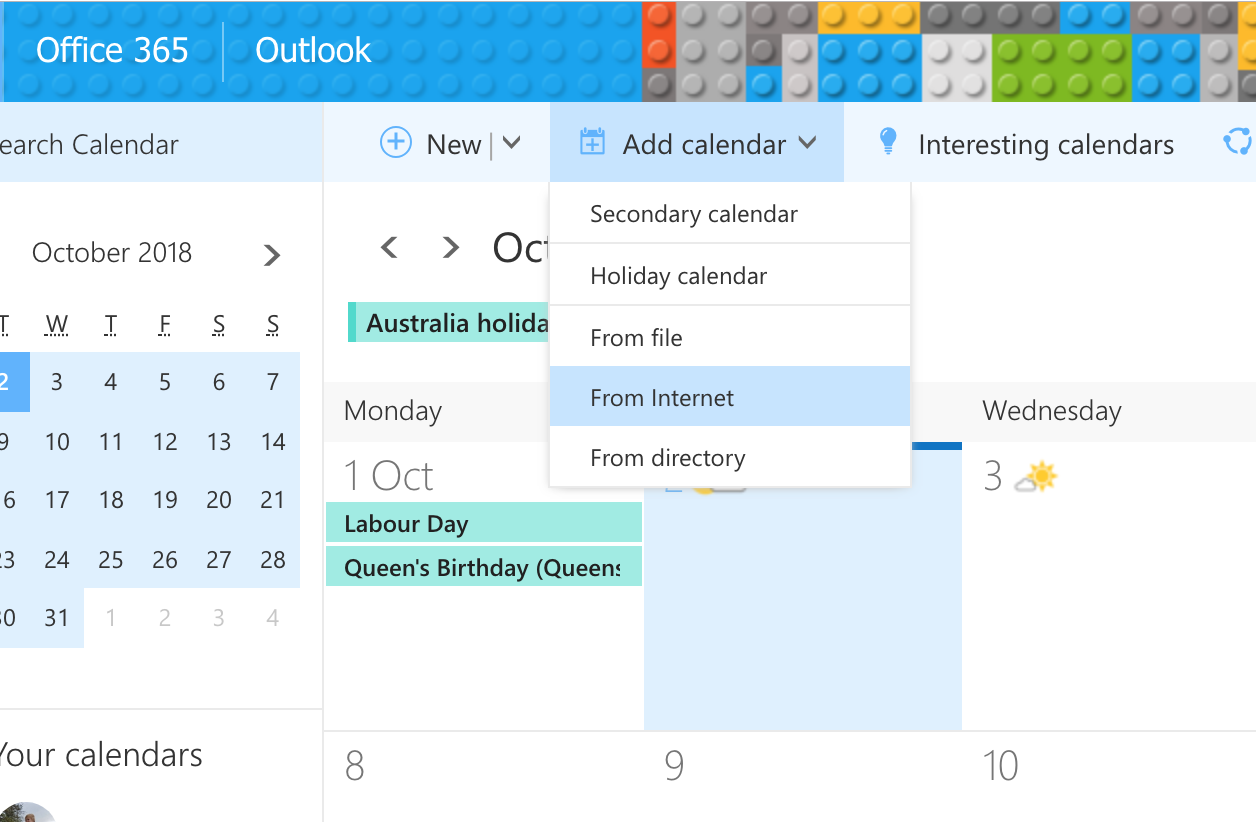 Office 365 Add Calendar Dropdown