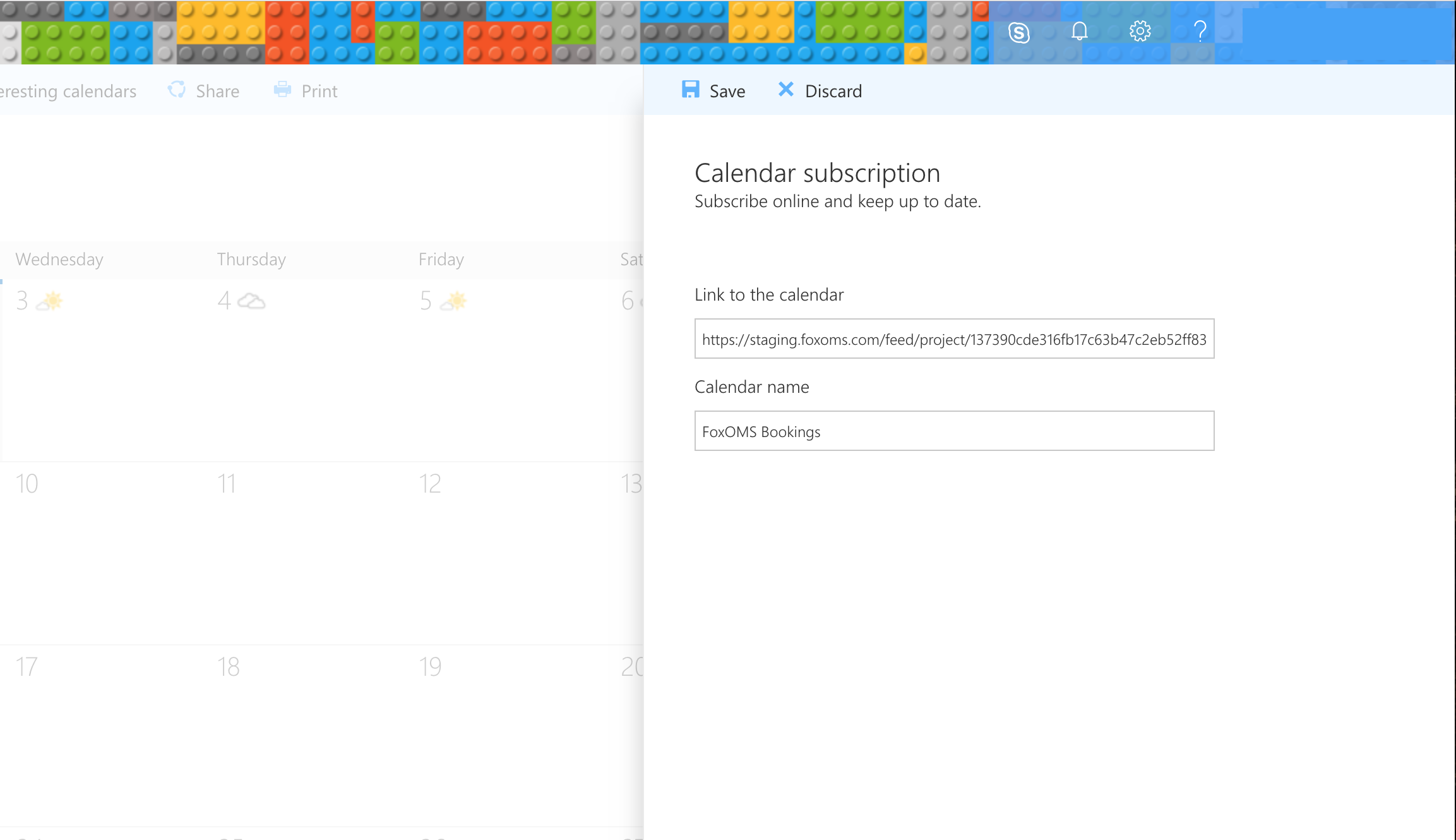 Office 365 Add Calendar Screen