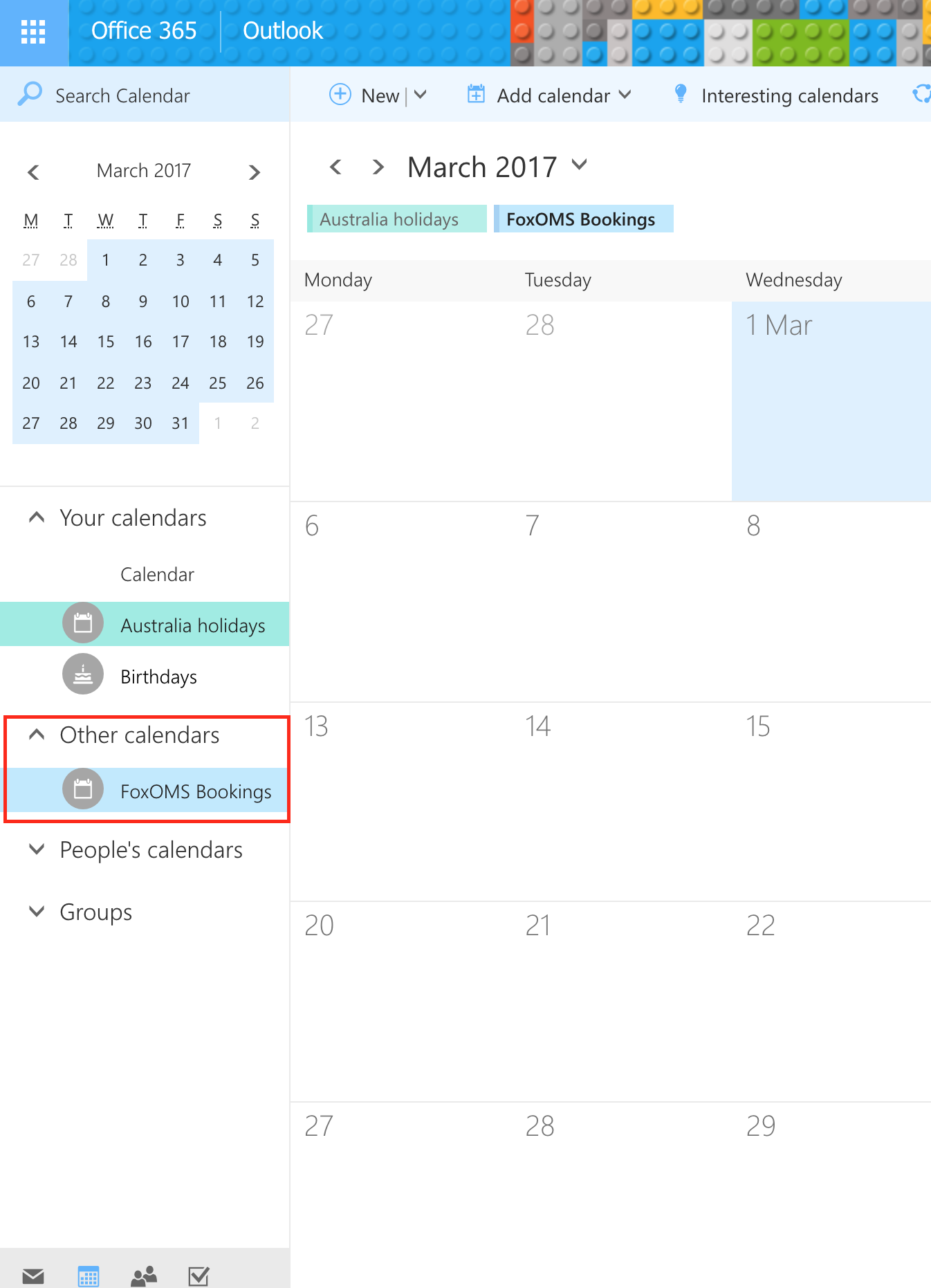 Office 365 Other Calendars Sidebar