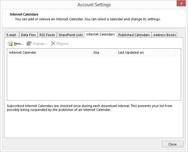 Outlook Calendar Account Settings