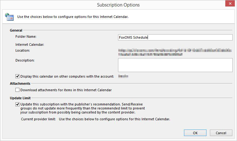Outlook Calendar Subscription Options