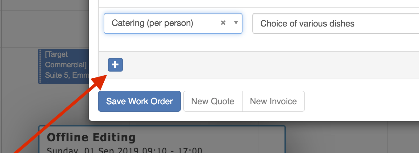 Booking Work Order Add Row
