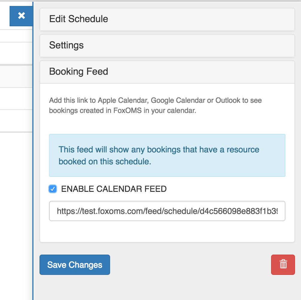 Creating a Schedule Booking Feed